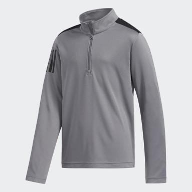 Youth Golf Grey 3-Stripes Half-Zip Pullover