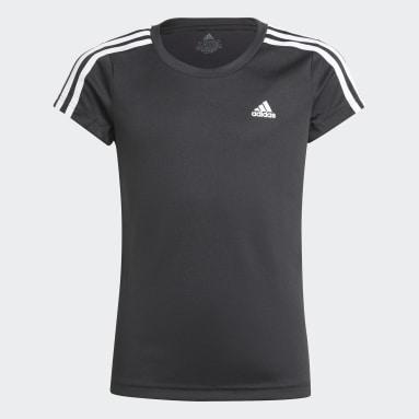 Camiseta Designed 2 Move 3 bandas Negro Niña Gimnasio Y Entrenamiento