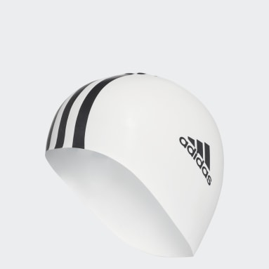 Yüzme Beyaz 3-Stripes Yüzücü Bonesi