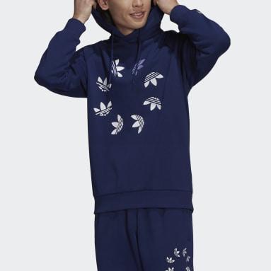 Sweat-shirt à capuche Adicolor Shattered Trefoil Bleu Hommes Originals