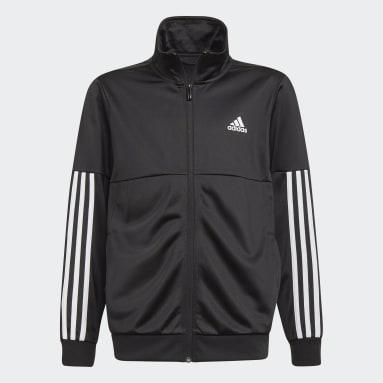 Boys Gym & Training Black 3-Stripes Team Track Suit