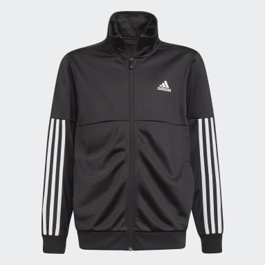 Youth 8-16 Years Gym & Training Black 3-Stripes Team Tracksuit