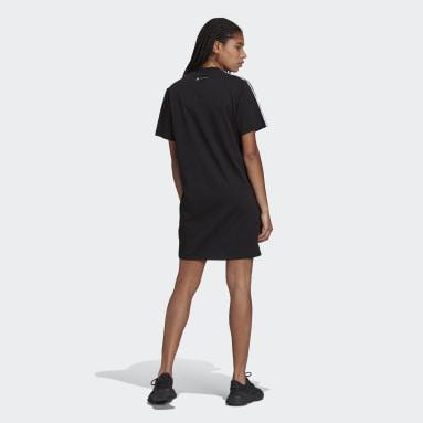 Robe t-shirt Marimekko Trefoil Print Infill Noir Femmes Originals
