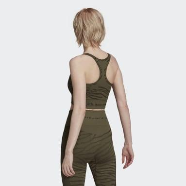 Frauen adidas by Stella McCartney adidas by Stella McCartney Seamless Yoga Light Support Sport-BH Grün