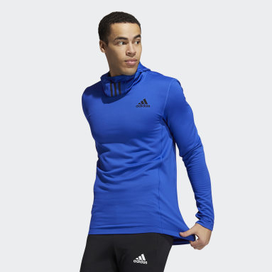 Men Gym & Training Blue COLD.RDY Techfit Fitted Long-Sleeve Top Hoodie