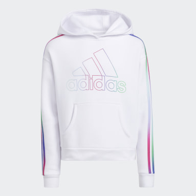 Youth Training White Multicolor 3-Stripes Hoodie