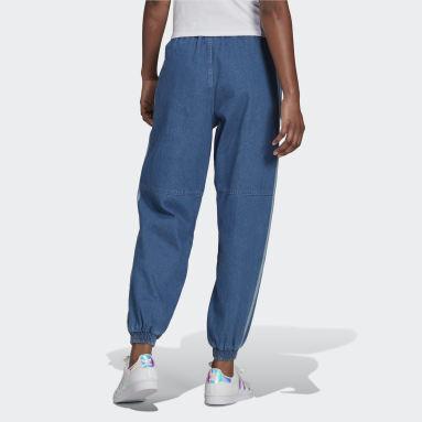 ผู้หญิง Originals สีน้ำเงิน กางเกงขายาวเดนิมทรงรีแลกซ์ Adicolor