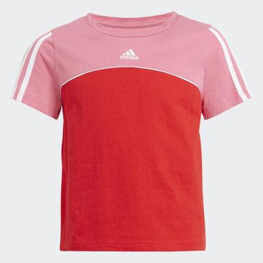T-shirt adidas Essentials Colorblock Rouge Filles Sportswear