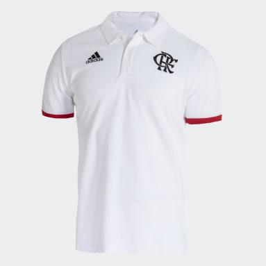 Camisa Polo 3-Stripes CR Flamengo Branco Homem Futebol