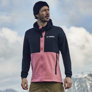 Men TERREX Black Terrex Tech Flooce Hooded Hiking Fleece Jacket