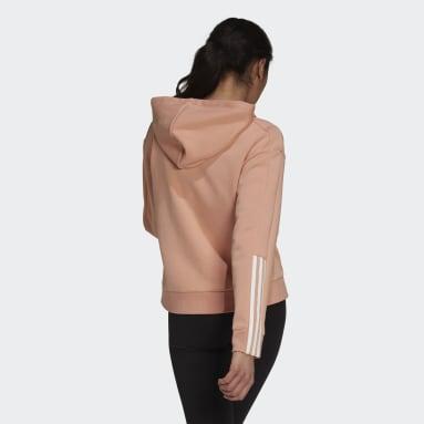 Women Sport Inspired Pink Essentials Loose-Cut 3-Stripes Full-Zip Hoodie