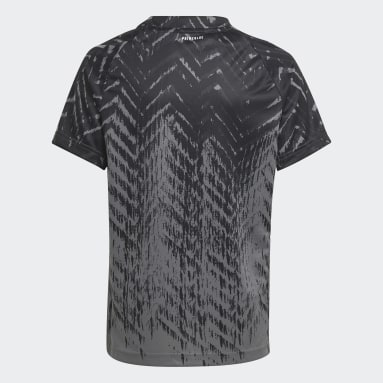 Youth Tennis Black Printed Freelift Tee