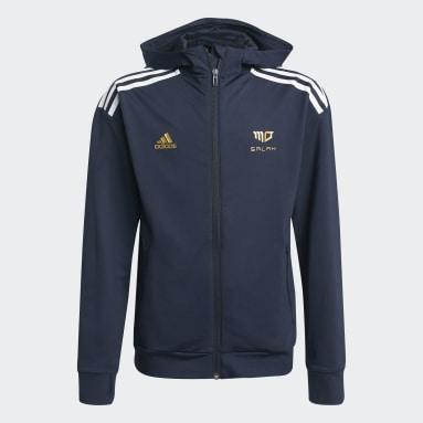 Jungen Fitness & Training Salah AEROREADY Football-Inspired Kapuzenjacke Blau