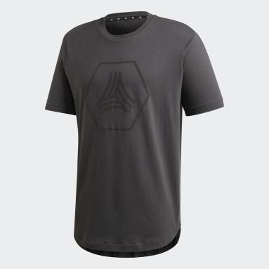 Men Gym & Training Grey TAN Big Logo T-Shirt