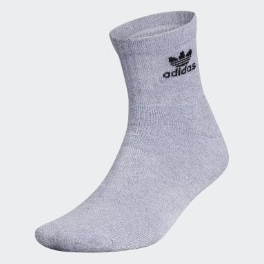 Men's Originals Grey Trefoil Quarter Socks 6 Pairs