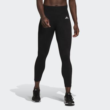 ผู้หญิง เทรนนิง สีดำ กางเกงโยคะเจ็ดส่วนไร้ตะเข็บ Aeroknit