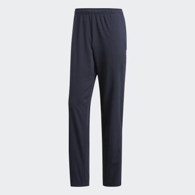 Men Gym & Training Blue Essentials Plain Open Hem Stanford Trousers