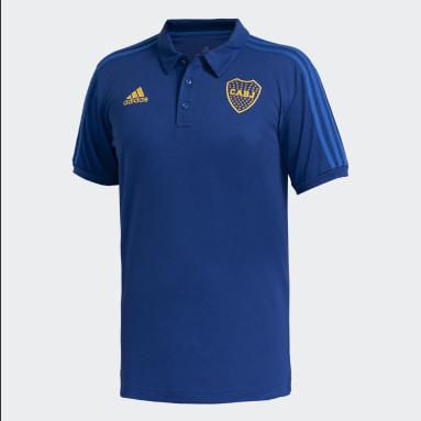 Polera con Cuello Boca Juniors 3 Tiras Azul Hombre Fútbol