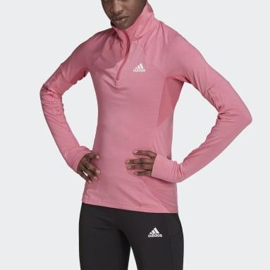 Ženy Běh růžová Tričko AEROREADY Designed 2 Move Cotton Touch 1/2-Zip Long Sleeve