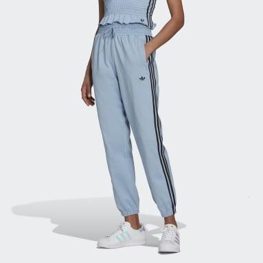 Women Originals Blue Smocked Waist Cuffed Pants