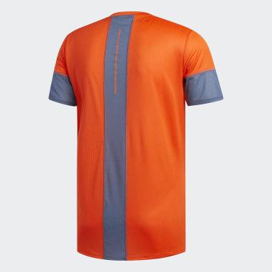 Men Running Orange 25/7 Rise Up N Run Parley Tee