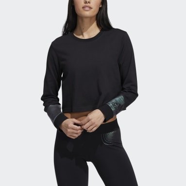 Women's Sportswear Black Holiday Graphic Cropped Long Sleeve Tee