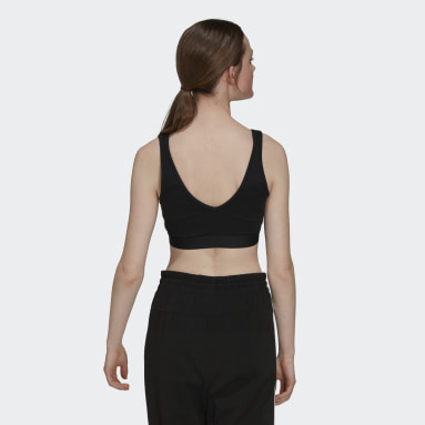 Women's Essentials Black Essentials 3-Stripes Crop Top With Removable Pads