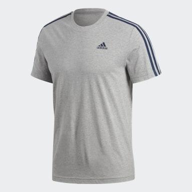 Playera Essentials 3-Stripes Gris Hombre Diseño Deportivo