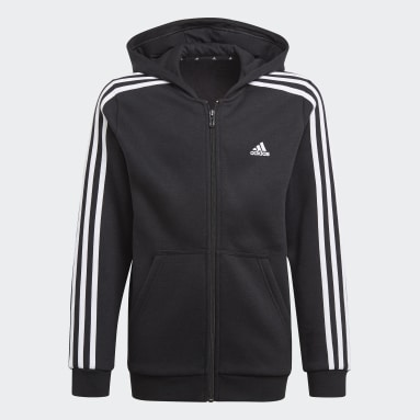 Boys Lifestyle Black Essentials 3-Stripes Hoodie