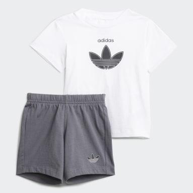 Infants Originals White adidas SPRT Shorts and Tee Set