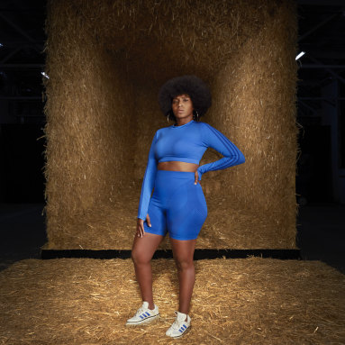 Women Originals Blue Crop Long-Sleeve Top