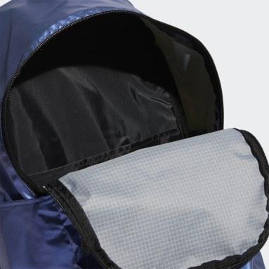 Women Sport Inspired Blue Classic Metallic Backpack Medium