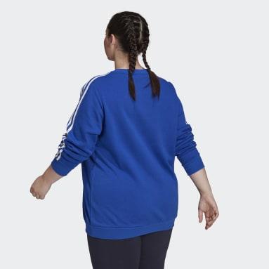 Women's Essentials Blue Essentials 3-Stripes Fleece Sweatshirt (Plus Size)