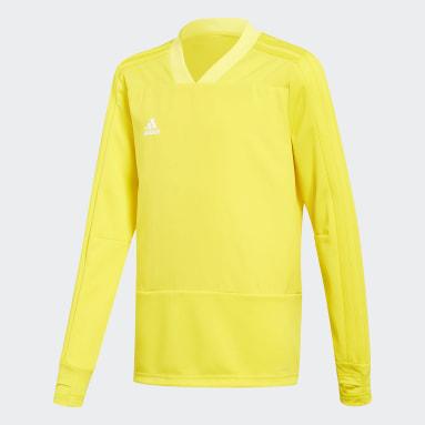 Camiseta manga larga entrenamiento Condivo 18 Player Focus Amarillo Niño Fútbol