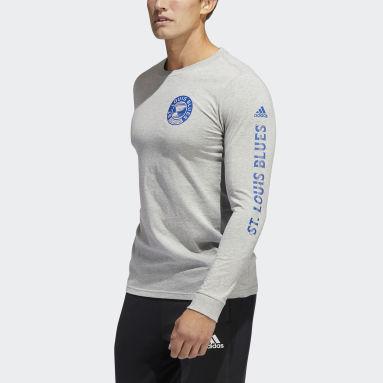 Men's Hockey Grey Blues Long Sleeve Tee
