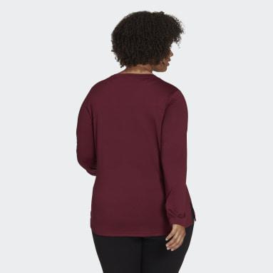 Women's Essentials Burgundy adidas x Zoe Saldana Long Sleeve Tee (Plus Size)