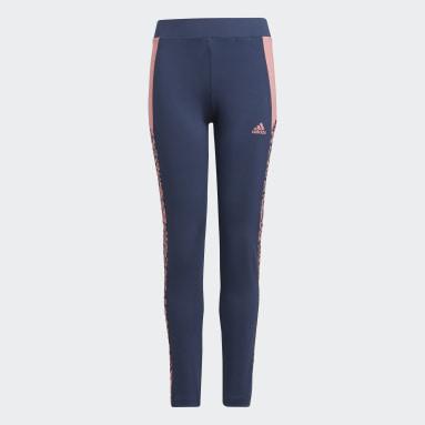 Mallas adidas Designed To Move Leopard Azul Niña Sportswear