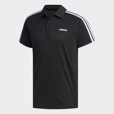 Men Gym & Training Black Designed 2 Move 3-Stripes Polo Shirt