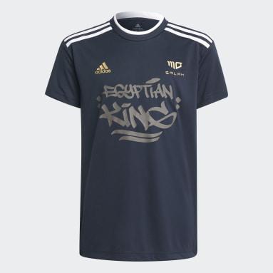 T-shirt Salah AEROREADY Football-Inspired Bleu Garçons Fitness Et Training