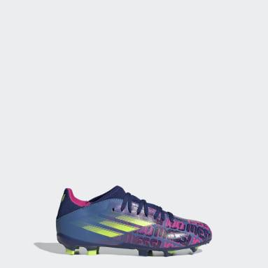 Calzado de Fútbol X Speedflow Messi.3 Terreno Firme Azul Niño Fútbol
