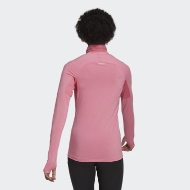 Frauen Running AEROREADY Designed 2 Move Cotton Touch 1/2-Zip Longsleeve Rosa
