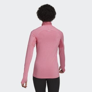 T-shirt AEROREADY Designed 2 Move Cotton Touch 1/2-Zip Long Sleeve Rose Femmes Running