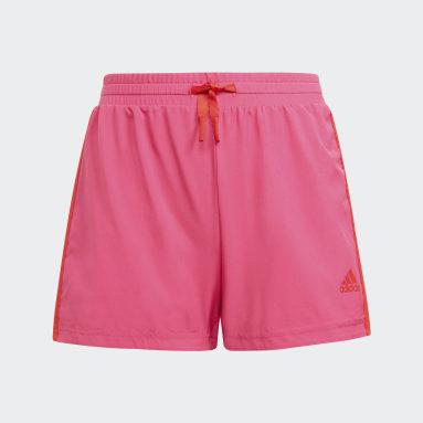 Girls Lifestyle Pink adidas Designed To Move 3-Stripes Shorts