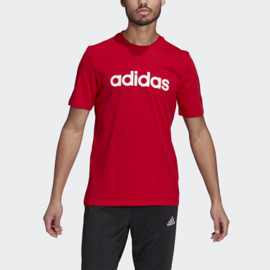 T-shirt Essentials Embroidered Linear Logo Rouge Hommes Sportswear