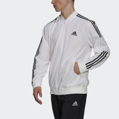 Men's Essentials White Essentials Woven 3-Stripes Jacket