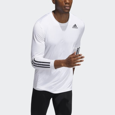Men Gym & Training White Techfit 3-Stripes Fitted Long-Sleeve Top Long-Sleeve Top