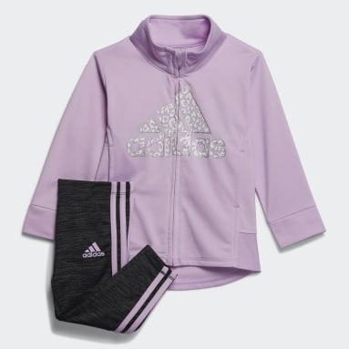Infant & Toddler Training Purple Jacket and Melange Tights Set