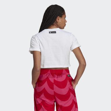 T-shirt Marimekko Trefoil Infill Cropped Blanc Femmes Originals