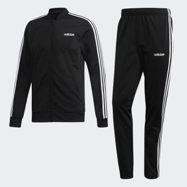 Men's Essentials Black 3-Stripes Track Suit
