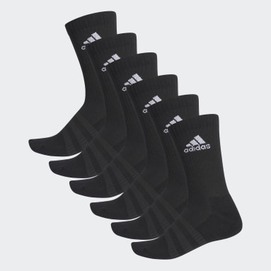 Sports Black Cushioned Crew Socks 6 Pairs